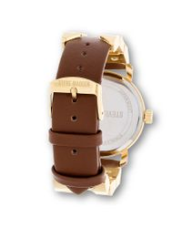 Steve Madden - Brown Round Case Watch With Metal Hardware - Lyst