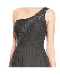 Aidan Mattox - Multicolor Gunmetal Ruched Silk One Shoulder Beaded Evening Gown - Lyst