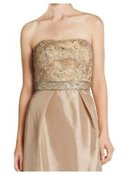 Sue Wong - Natural Beige Strapless Embellished Sequin Organza Evening Gown - Lyst