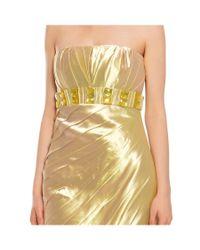 Badgley Mischka - Metallic Dazzling Beaded Strapless Cocktail Evening Dress - Lyst
