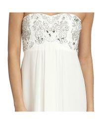 Aidan Mattox - White Chiffon Embellished Strapless Empire Gown - Lyst