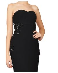 ML Monique Lhuillier - Black Crepe Beaded Strapless Evening Gown - Lyst