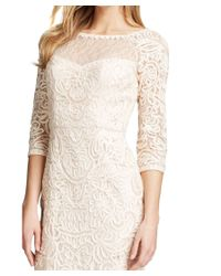 Sue Wong - Multicolor Blush Three Quarter Sleeve Soutache Lace Embroidered Party Dress - Lyst