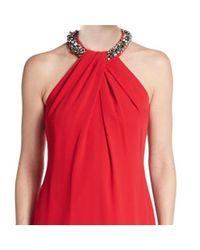 Carmen Marc Valvo - Red Crepe Jeweled Halter Column Dress - Lyst