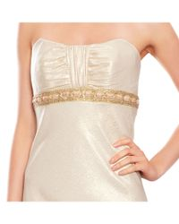 Badgley Mischka - White Brocade Empire Waist Strapless Gown - Lyst