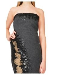 Donna Karan - Black Chic Strapless Sequined Mixed Media Cocktail Evening Dress - Lyst