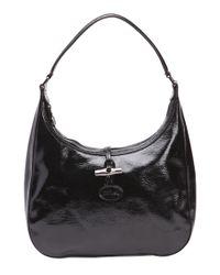 Longchamp | Black Patent Leather 'roseau' Hobo Shoulder Bag | Lyst