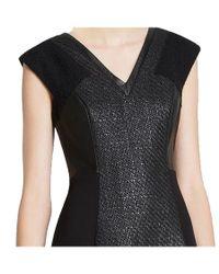 Rebecca Taylor - Black Cap Sleeve V-neck Twill Combo Dress - Lyst