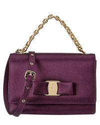 Ferragamo - Purple Ginny Small Satin Flap Bag - Lyst