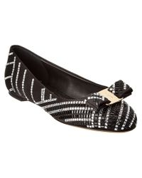 Ferragamo | Black My Belle Satin Lace Bow Ballet Flats | Lyst