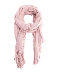 La Fiorentina | Pink Cashmere Blend Wrap With Pearl Beading | Lyst