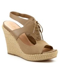 Cole Haan - Brown Heath Leather & Canvas Wedge Sandal - Lyst