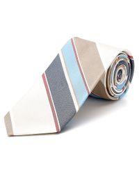 Cole Haan - Blue Beige Sailboat Striped Silk Tie for Men - Lyst