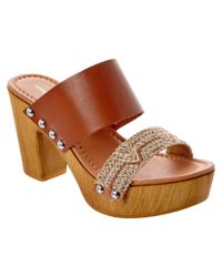 Charles David | Brown Cognac Leather Sandal | Lyst