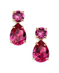 kate spade new york - Multicolor Plated Crystal Fancy That Double Drop Earring - Lyst