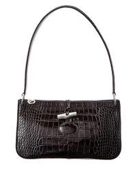 Longchamp | Black Roseau Croco Embossed Leather Shoulder Bag | Lyst