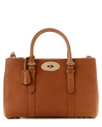 Mulberry | Brown Bayswater Small Double Zip Natural Leather Tote | Lyst
