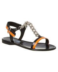 Prada | Black Leather Chain Sandal | Lyst