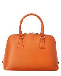 Prada - Orange Promenade Saffiano Leather Double Handle Tote - Lyst