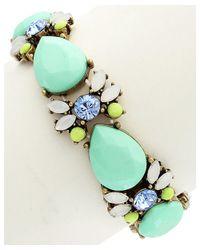 Sparkling Sage - Green 14k Plated Crystal & Resin Stretch Bracelet - Lyst