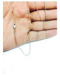 JewelryAffairs - White Sterling Silver Rhodium Plated Cable Chain Necklace, 1.9mm, 16 - Lyst