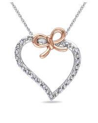 Catherine Malandrino - Metallic Diamond Heart Bow Pendant W/chain - Lyst