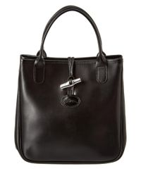 Longchamp | Black Roseau Leather Tote | Lyst