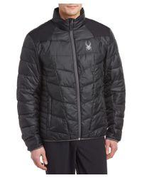 Spyder | Black Geared Synthetic Down Jacket for Men | Lyst