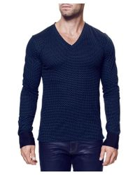 Maceoo - Blue V Neck Black Turquoise Bn for Men - Lyst