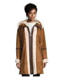 7 For All Mankind | Brown Faux Shearling Coat | Lyst