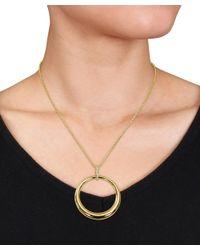 Catherine Malandrino - Metallic Diamond Circle Pendant In 18k Yellow Gold Plated Sterling Silver - Lyst