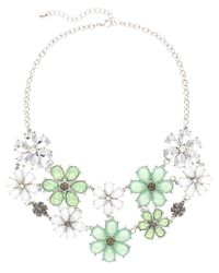 Sparkling Sage | Green Plated Crystal & Resin Flower Bib Necklace | Lyst