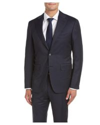 Canali | Blue Wool Suit With Flat Front Pant for Men | Lyst