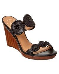 Jack Rogers | Black Luccia Leather Wedge Sandal | Lyst