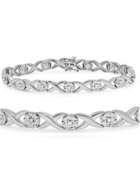 Amanda Rose Collection - Metallic 1/4ct Diamond Hugs N Kisses Tennis Bracelet In Sterling Silver - Lyst