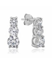 Amanda Rose Collection | Multicolor Sterling Silver Round Three Stone Cubic Zirconia Stud Earrings 5ct Tw. | Lyst