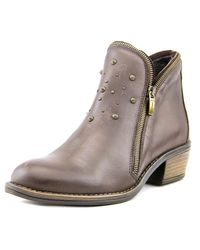Eric Michael | Astro Women Round Toe Leather Brown Bootie | Lyst
