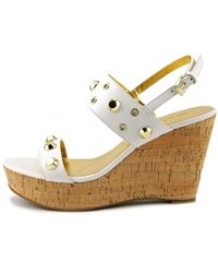 Ivanka Trump - White Gitty Open Toe Leather Wedge Heel - Lyst