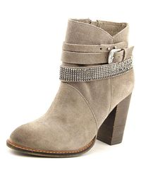 Chinese Laundry | Zanga Women Round Toe Suede Gray Ankle Boot | Lyst