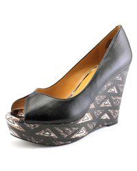 Nine West | Black Audora Open Toe Leather Wedge Heel | Lyst