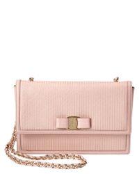Ferragamo | Pink Ginny Medium Vara Striped Leather Shoulder Bag | Lyst