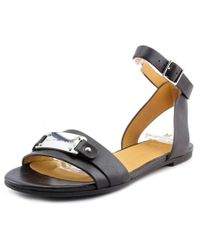 Marc By Marc Jacobs | Logo Plaque Women Open Toe Leather Black Sandals | Lyst