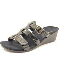 Vionic - Black Park Radia Open Toe Synthetic Wedge Sandal - Lyst