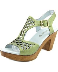 Eric Michael - Green Tyra Open Toe Leather Platform Heel - Lyst