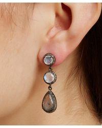 Adornia   White Moonstone, Labradorite, And Champagne Diamond Athena Earrings   Lyst
