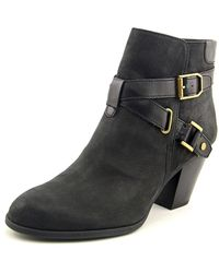 Franco Sarto | Black Delight Round Toe Leather Bootie | Lyst