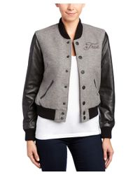 True Religion - Gray Richie Wool-blend & Leather Varsity Jacket - Lyst