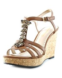 Adrienne Vittadini | Natural Canis Open Toe Synthetic Wedge Sandal | Lyst