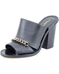 COACH | Black Kylie Peep-toe Leather Mules | Lyst