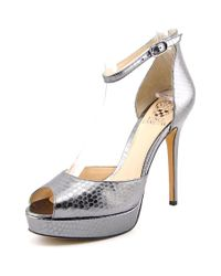Vince Camuto   Metallic Lillith 2 Women Open Toe Leather Silver Platform Sandal   Lyst